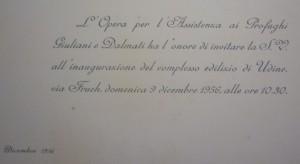 Udine, Via Fruch - 9.12.1956, inaugurazione del Secondo Villaggio Giuliano